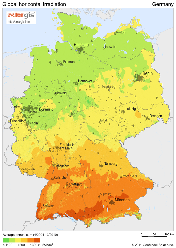 Solar Energy USA Vs Germany Joe Weins Blog - Us solar radiation resource maps