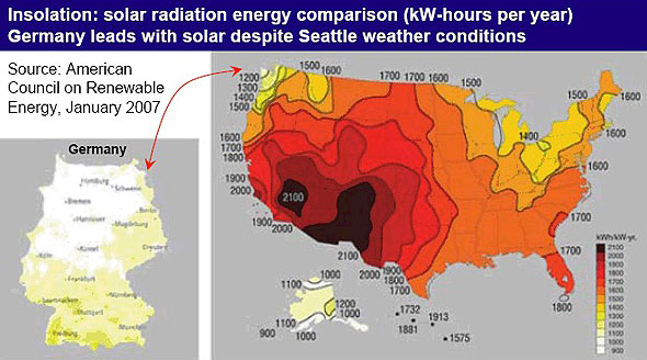 Solar Energy USA Vs Germany Joe Weins Blog - Radiation map in us