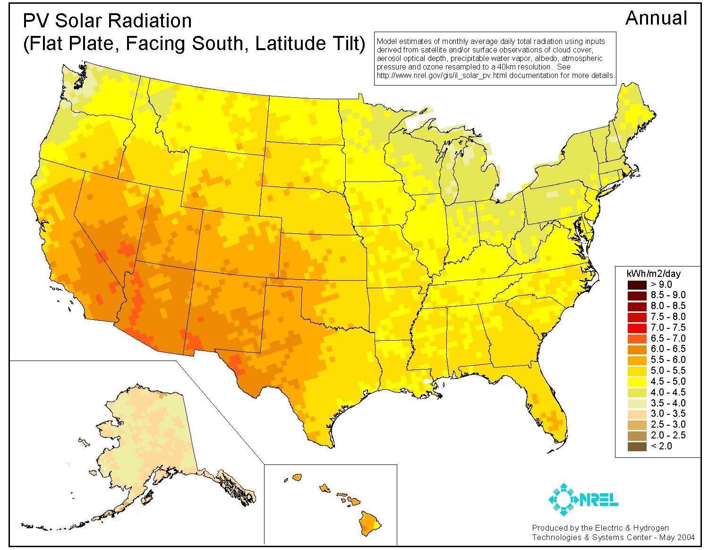 Solar Energy USA Vs Germany Joe Weins Blog - Sun map us